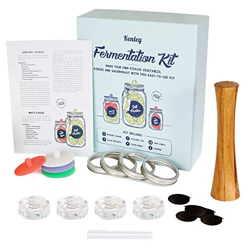 Fermentation Kit with Weights & Lids - Wide Mouth Mason Jar Fermenting Set - Wooden Pounder, 4 Glass Weights, 4 Silicone Lids, 4 Cover Rings, 25 labels & Marker - Pickling, Making Kimchi & Sauerkraut