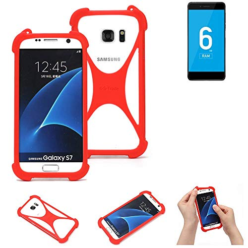 K-S-Trade Handyhülle Für Vernee Mars Pro 4G Schutzhülle Bumper Silikon Schutz Hülle Cover Hülle Silikoncase Silikonbumper TPU Softcase Smartphone, Rot (1x)