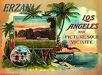 ERZAN30x40cmメタルポスター壁画ショップ看板ショップ看板1920年代のロサンゼルスとその周辺カリフォルニアのヴィンテージ旅行広告ブリキ看板