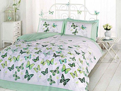 Art - Juego de Funda nórdica y almohadones en Rosa y Blanco con diseño de Mariposas para Cama Individual, Algodón y poliéster., Verde, Doublé