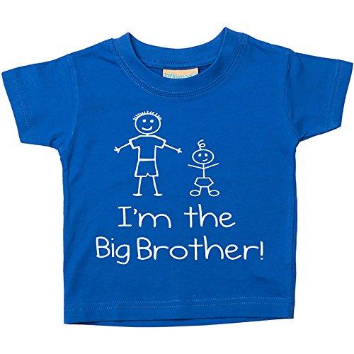 Maglietta da bambino con scritta I'm The Big Brother in color blu. Taglie: 0-6 Mesi fino a 5-6 anni. Regalo per la nascita di un nuovo bambino - Blu, 3-4 Years