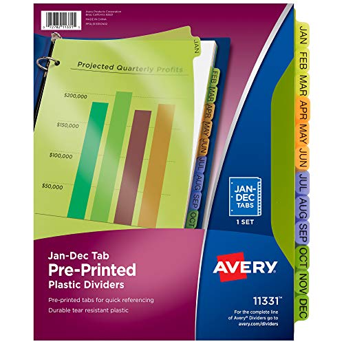 Avery Plastic Jan-Dec Tab Binder Dividers, Pre-Printed Multicolor Tabs, 12-Tab, 1 Set (11331)