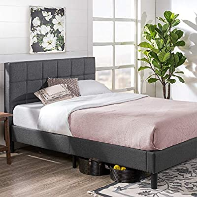 Zinus Lottie Upholstered Platform Grey Bed Frame | Model | Queen - MODERN STYLE, CLASSIC COMFORT - With its distinct square tufted headboard, the Lottie is a can't miss centerpiece for any bedroom that doesn't sacrifice on stability or comfort DURABLY DESIGNED - Interior steel framework and dense foam padding add comfort and longevity; twin size supports a maximum weight capacity of 350 lbs, while all other sizes can support up to 700 lbs NO BOX SPRING NEEDED - Durable wood slats support and extend the life of your latex, memory foam or spring mattress without the need for a box spring; slats are spaced 2.8 - 3.3 inches apart - bedroom-furniture, bedroom, bed-frames - 51dF4WryVkL. SS400  -