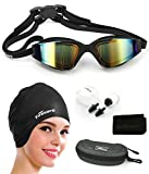 Firesara Swim Cap Swimming Goggles, Swimming Cap for Long Hair Swimming Glasses Anti Fog UV Protection for Adults Youth Men Women Boys Kids with Nose Clip Ear Plugs Sets (Black), Black