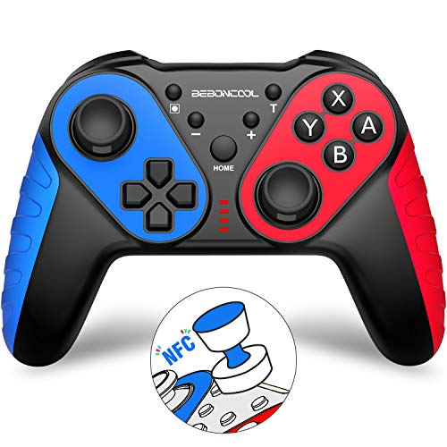 BEBONCOOL Nintendo Switch Controller, NFC Switch Controller mit Amiibo-Funktion und Einstellbarer Turbofunktion, Switch Pro Controller-Zubehörsätze Kompatibel mit Nintendo Switch/Lite