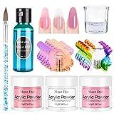 Anself 3 colores 10g Polvo de uñas Crystal Liquid Nail Pen Set Polvo acrilico para uñas Sistema de manicura