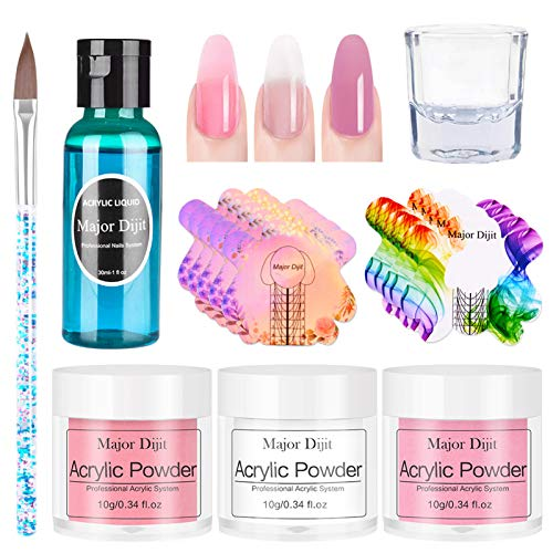 Polvos Acrilicos para Uñas,3 colores Polvo de uñas Crystal Liquid Nail Pen Set Polvo acrilico Set de uñas,set uñas acrilicas(10g)
