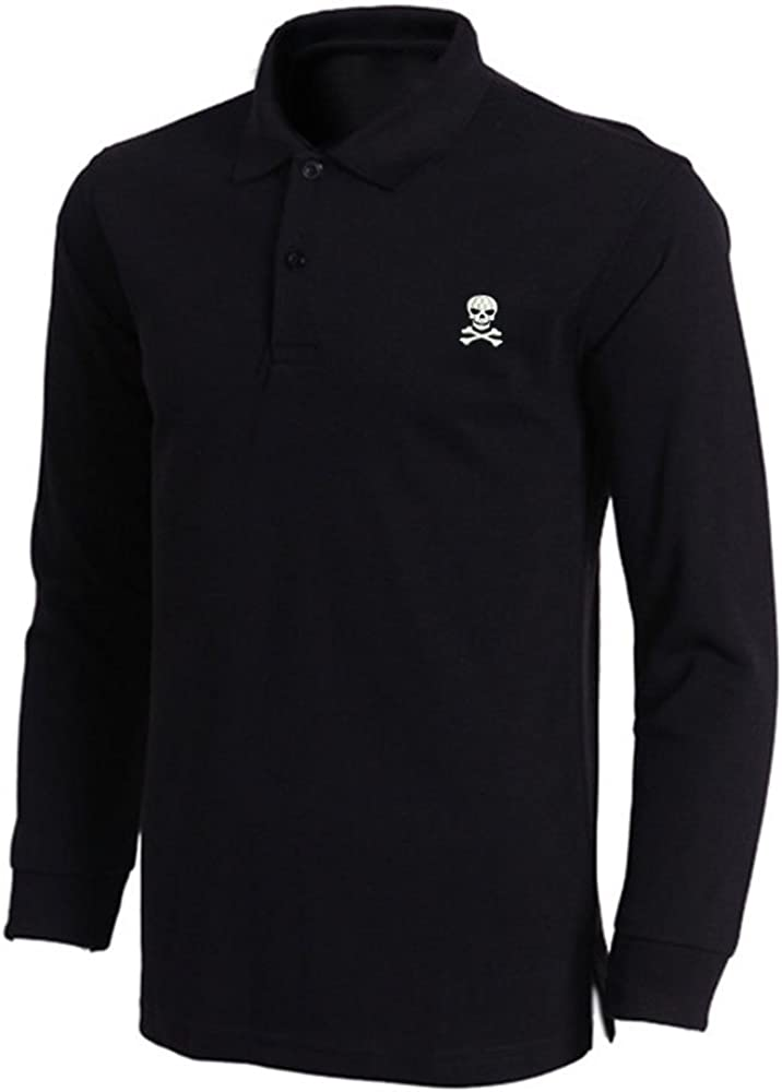 Mens Skull Crossbones Embroidered Long Ranking Al sold out. integrated 1st place Shirts Men Polo Sleeve