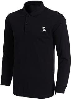 Mens Skull & Crossbones Embroidered Long Sleeve Polo Shirts Men Shirts