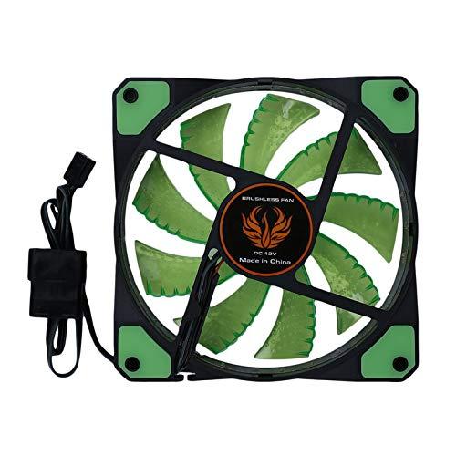 Kurphy Ventilador de Caja de PC de computadora Ultra silenciosa LED de 120 mm 15 LED de 12 V con Conector Molex silencioso de Goma Ventilador fácil de Instalar