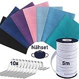 tissu coton + 5m elastique couture + 10 pont de nez, tissus coton - lavable jusqu'à 95°C, tissus au metre, tissus pour couture 7pc. 20x40cm, tissu coton au metre, set1