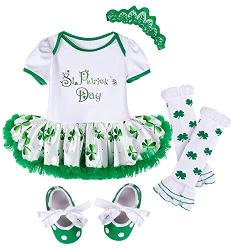 MOMBEBE COSLAND Conjunto de Body Disfraz de San Patricio para Bebé Niñas 4 Piezas 0-18 Meses
