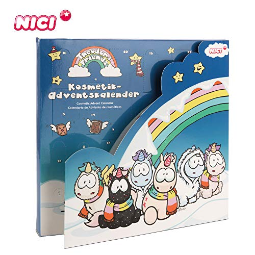 NICI Kosmetik Adventskalender Einhorn Theodor and Friends – Einhorn Adventskalender Mädchen ab 3 Jahren – Weihnachtskalender Kinder – Schmink & Schmuck Adventskalender mit tollen Geschenken – 44330