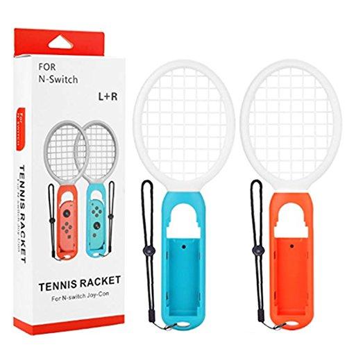 Foxom Tennisschläger, Paar Tennisschläger für Nintendo Switch Joy-Con Controller, Zubehör für Mario Tennis Aces Spiel (Orange Weiß,Blau Weiß)