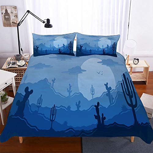 CGZLNL Microfiber Duvet Cover Set cactus 55x78.7 inch Easy Care Anti Allergic Soft & Smooth Bedding Set +2 Pillow Cases 19.7 X 29.5 inch