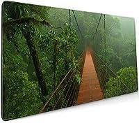 雨林 大型ゲーミングマウスパッド光学式マウス対応滑り止め防水耐久性 キーボードパッド オフィス 900 X 400