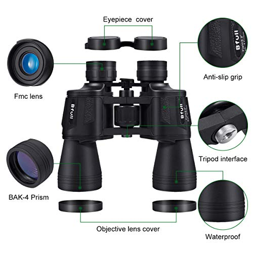 BFULL Binoculars 12x50 Binoculars for Adult Teenagers Compact Binoculars Wide Angle Weak Light Night Vision Waterproof Binoculars with Bag and Strap for Bird Watching, Hunting, Safari, Sports