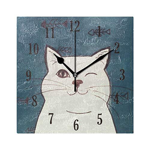 MNSRUU Wanduhr, niedliche weiße Katzen-Uhr, Innovative, geräuschlose dekorative Wanduhr für Wohnzimmer, Schlafzimmer, Zuhause, Büro, batteriebetrieben