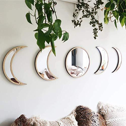 Delaspe Espejo de fase lunar 5 piezas de espejos decorativos acrilicos para el hogar, diseno interior de madera bohemia decoracion de pared
