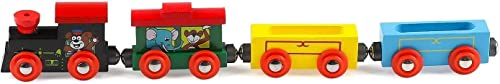 lakshya india four piece push pull along detachable wooden toy train set beautifully designed train with strong magne...