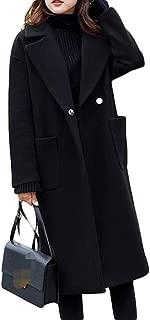 Ladies' Autumn and Winter Popular Black Woolen Coat Long Loose Woolen Coat TuanTuan (Color : Black, Size : XXXXL)