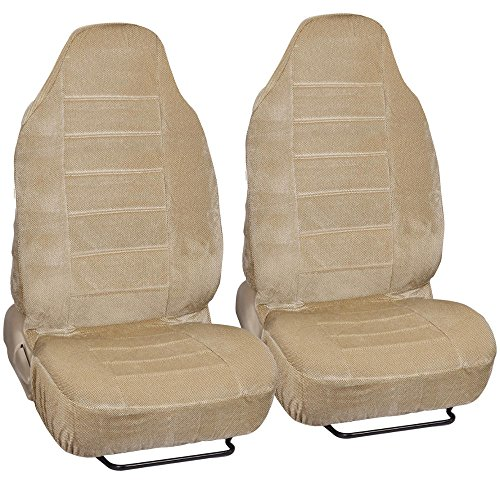BDK Beige Dotted Cloth Regal Style 2 Piece Premium High Back Auto Seat Covers