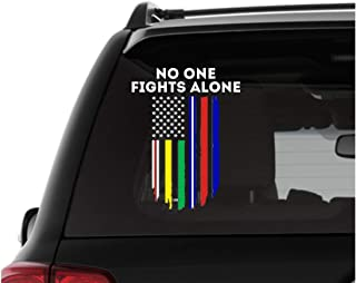 No One Fights Alone Vinyl Car and Truck Decal with Thin Blue Line Thin Red Line and Thin Green Line