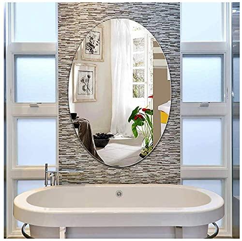 NHY Espejo montado en la Pared del baño, para baño, Maquillaje, aderezo y Sala de Estar, Oval, diseño Elegante, sin Marco con Bordes de Bisel contemporáneo,40 * 60cm