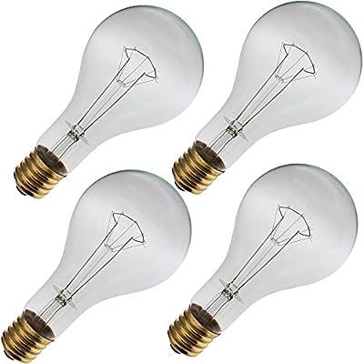 Industrial Performance 300PS35/CL 130V, 300 Watt, PS35, Mogul Screw (E39) Base Light Bulb (4 Bulbs)