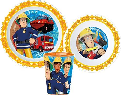 Feuerwehrmann Sam Kinder-Geschirr Set mit Teller, Müslischale und Becher