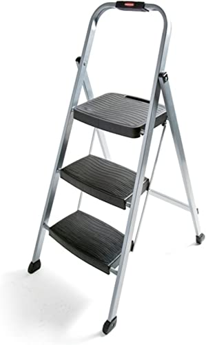 Rubbermaid RM-3W Folding 3-Step Steel Frame Stool with Hand Grip and Plastic Steps, 200-Pound Capacity, Silver Finish...