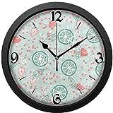 レモン いちご みずみずしい掛け時計、ヴィンテージの形、繊細で美しい模様は寝室、居間、オフィススクールなどに使用できます。直径約30センチ