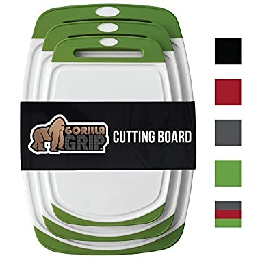 GORILLA GRIP Original Reversible Cutting Board (3-Piece Set) for Kitchen, BPA Free, Easy Grip Handle, Dishwasher Safe, Non-Porous, Boards are Extra Large and Thick, Juice Grooves (Set of Three: Green)