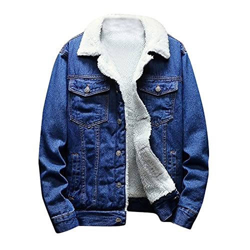 MTENG Men's Lapel Sherpa Fleece Lined Thicken Denim Jean Trucker Jacket Coats Big and Tall Outerwear