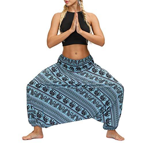 AOZLOVEC Pantalones de mujer con estampado Harem Pantalones bombachos de cintura elástica de verano Pantalones largos Pantalones de baile sueltos de pierna ancha informal Talla única I
