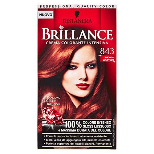 Schwarzkopf, Brillance, Crema Colorante Intensiva Permanente, 843 Bronzo Luminoso