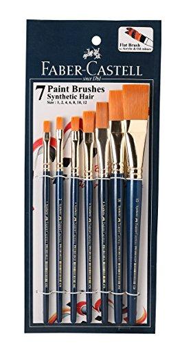 Faber-Castell Paint Brush Set - Flat, Pack of 7 (Navy Blue)