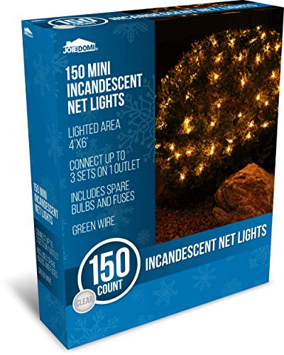 Joiedomi 150 Warm White Incandescent Christmas Net Lights for Indoor & Outdoor Decorations, Christmas Events, Christmas Eve Night Decor, Christmas Tree, Bushes