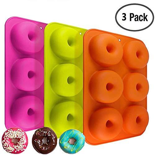 Silicone donut stampi 3confezione 6stampi antiaderenti Safe teglia Maker pan al calore senza BPA donut Mold muffin tazze anello biscotto stampo per