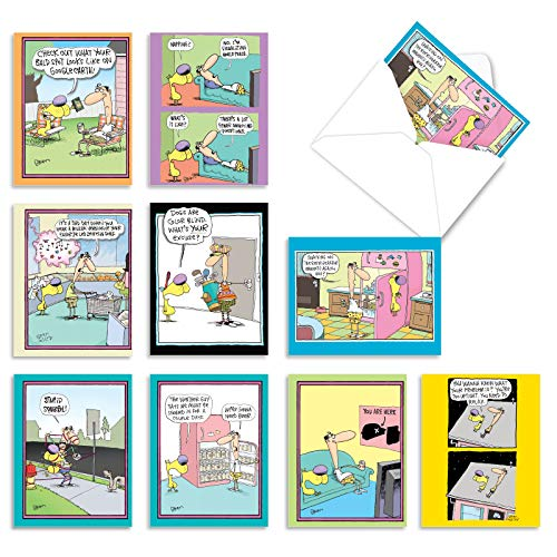 10 Funny 'Doggone Funny McCoy' Thank You Cards with Envelopes 4 x 5.12 inch, Cards with Comics of Dogs and People, Boxed Thank You Note Cards, Bulk Set of Note Cards M6465TYG