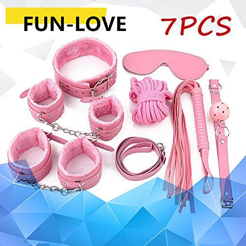 Juego de siete piezas de felpa para mujer atado a divertidos juguetes alternativos de color rosa para adultos