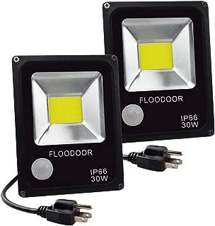 FLOODOOR Flood Light 30W LED Motion Sensor Outdoor PIR Sensor Light, 110V Security Smart Light, 6000K, Daylight White, 150W Bulb Equivalent, 2700lm, IP66 Super Bright Waterproof Safety Light(2 Pack)