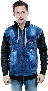 Niue Men's Winter Warm Hooded Denim Jacket (Black)