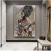 アフリカの黒人女性の落書きアートポスターとプリント壁に抽象的なアフリカの女の子のキャンバスの絵画アート写真壁の装飾30x40cm(12x16in)
