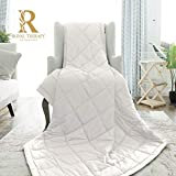 Royal Therapy Weighted Blanket - Heavy 100% Cotton Blankets with Premium Glass Beads (48''x78'' 15lbs, Coastal Fog), Suitable for One Person (~150lb) - Use on Twin/Queen Bed
