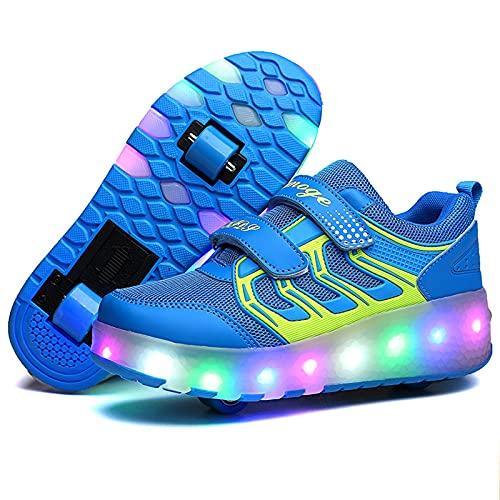 Unisex Bambino LED Scarpe con Rotelle Automatiche Skate Formatori Sportive Ginnastica Lampeggiante Outdoor Multisport Running Sneaker B1,35