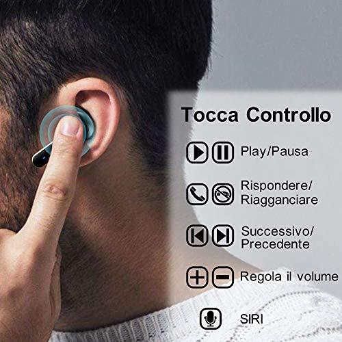HOMSCAM T3 Cuffie Bluetooth Auricolari Bluetooth Senza Fili TWS Auricolari Wireless 5.0 Sportivi con Custodia da Ricarica Microfono Resistente al Sudore Hi-Fi Cuffie per iOS Android Smartphone PC