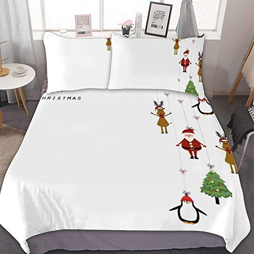 Christmas 3pcs Comforter Cover Set Reindeers Santa Claus Penguins and Xmas Tree Stripes Design 1 Duvet Cover and 2 Pillowcovers, (3pcs, Queen Size)