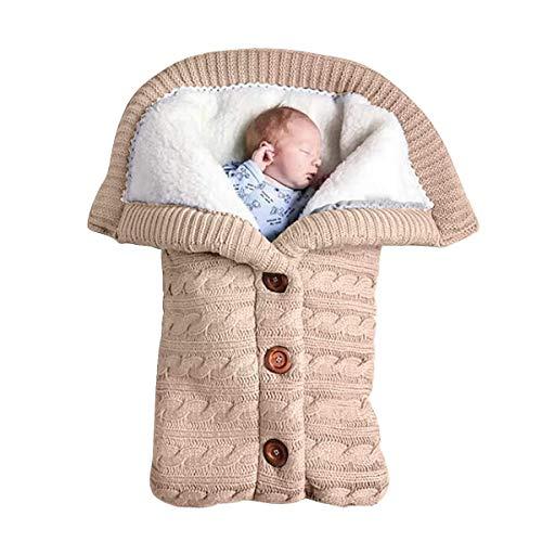 JUEJIDP Mantas para bebés recién Nacidos, Mantas para Envolver de Lana de Punto Suave, Saco de Dormir cálido de Ganchillo Grueso para Invierno, Accesorio para bebés de 0 a 18 Meses,Beige