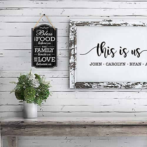 Bless Our Family Food Love Sign by Bigtime Signs - Heart Warming Quote - Strong PVC with Rope for Hanging - Country, Rustic House, Kitchen, Dining Wall Decor - Housewarming, Home Gifts - 8.5x14.5 Inch (Black)